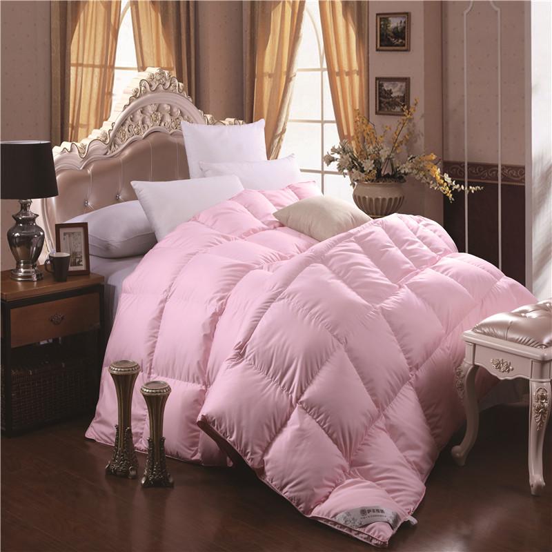 粉色柔赛丝羽绒被95%大白鹅绒被